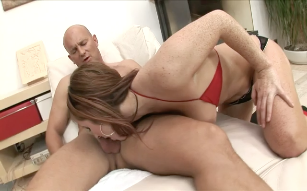 Red head freckled slut loves cock